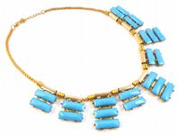 Faux Turquoise Egyptian Style Collar Necklace